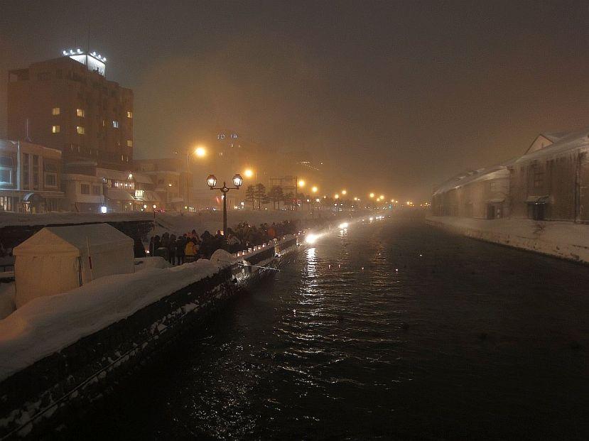 otaru canal de noche nevada febrero 2015