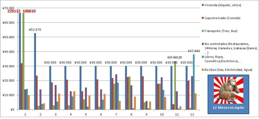 Gastos de 1 año viviendo en Japón estudiando sin trabajar. Grafica anual de barras con gastos mensuales durante un año en Tokyo.