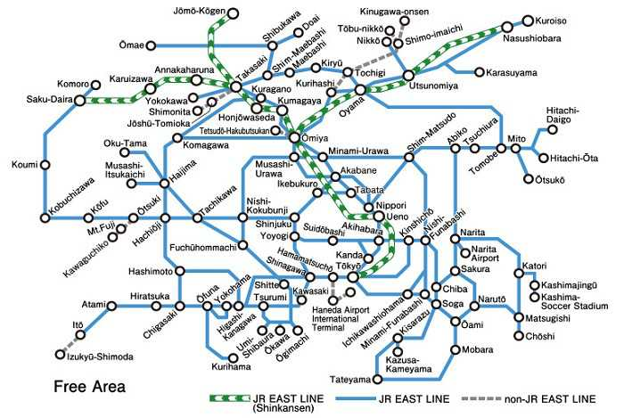Mapa de JR Kanto Area Pass y sus destinos, estaciones