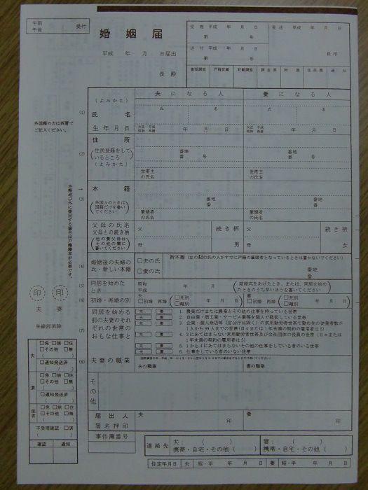 Casarse en Japón. La boda internacional. Documento del registro de matrimonio