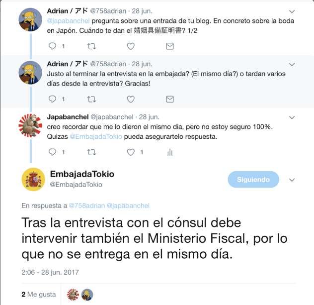 Certificado capacidad legal para contraer matrimonio twitter consulta embajada España Japón