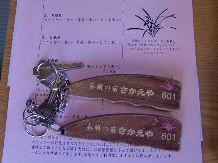 Shibu Onsen. Llaves del ryokan Sakaeya