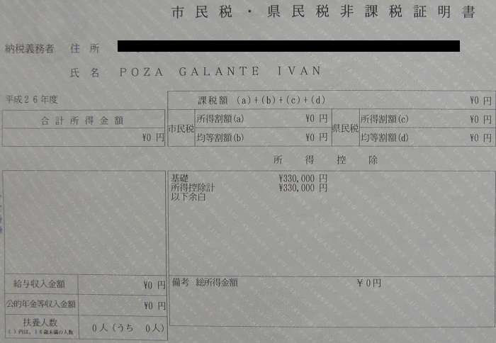 jumin no hikazei shomeisho 住民の非課税証明書