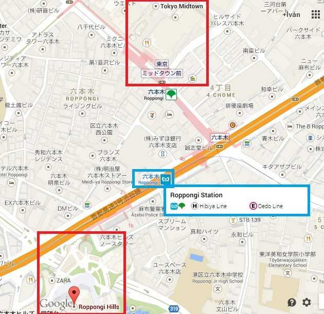 Mapa Roppongi Hills y Tokyo Midtown
