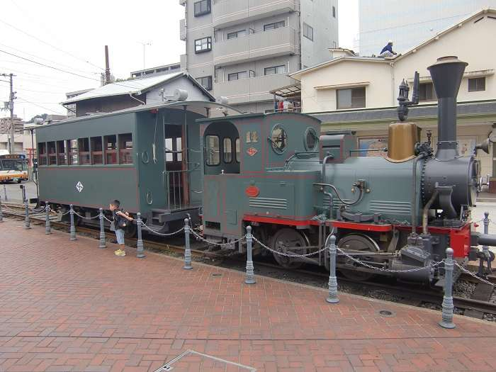 Viejo tranvia expuesto en Dogo Onsen