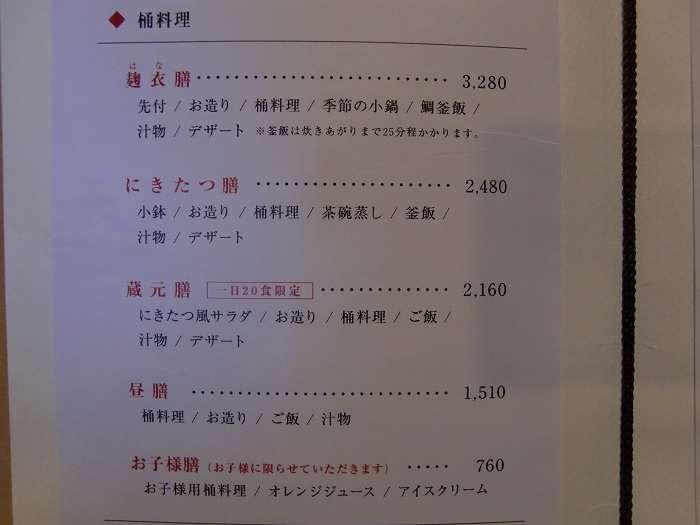 Restaurante Nikitatsuan, menu