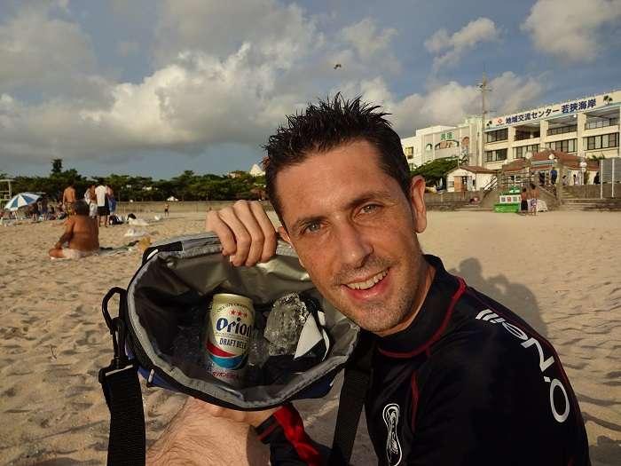 Orion beer en Naminoue beach Okinawa