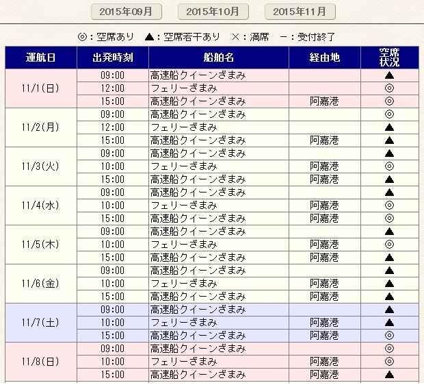 Pagina Reservas a Zamami Okinawa