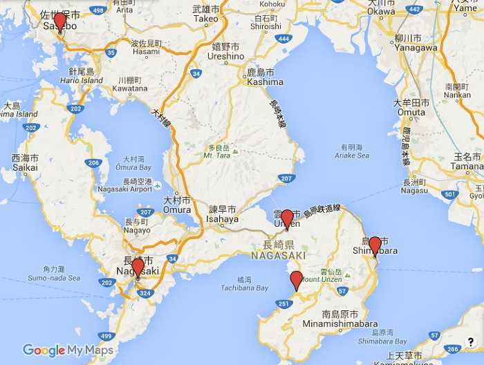 Mapa Nagasaki