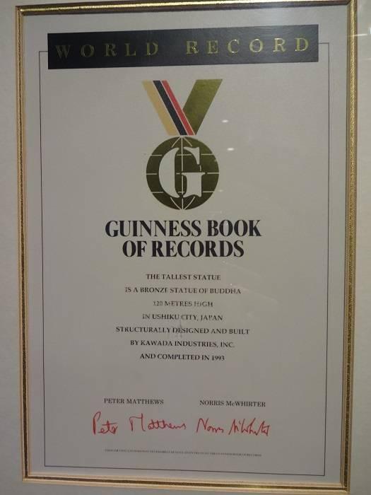 record guinness buda Ushiku Daibutsu