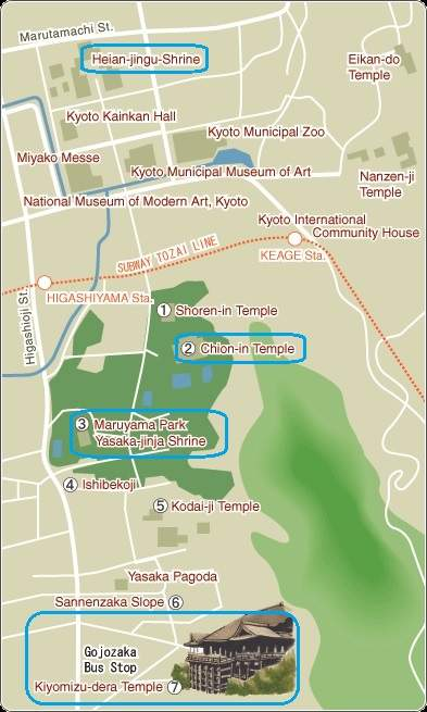 Mapa Kyoto Higashiyama B