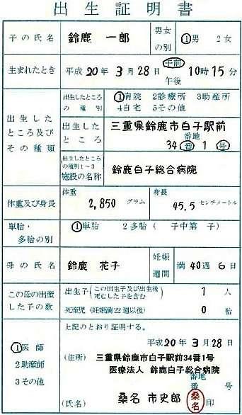 certificado-nacimiento-japones-shussei-todoke