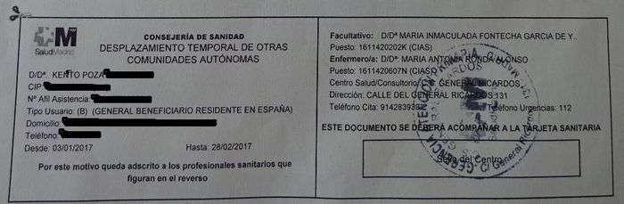 tarjeta sanitaria temporal inss españoles extranjero
