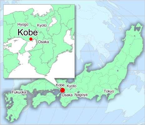 kobe en japon mapa