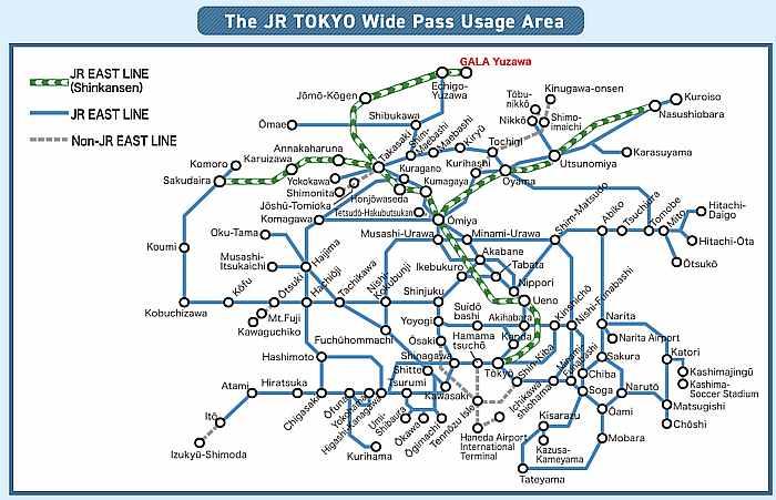 JR Tokyo Wide Pass Lineas Tren Uso