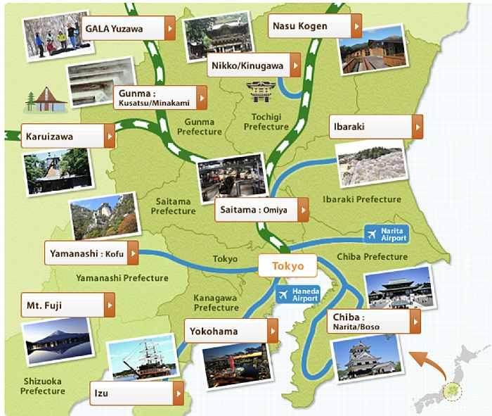 JR Tokyo Wide Pass mapa
