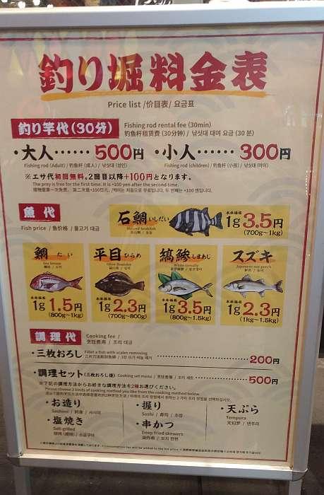restaurante Tsuri kichi precios pescar cena