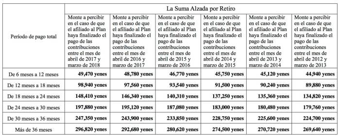 suma alzada retiro japon pension extranjero