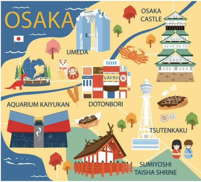 mapa turistico grafico osaka