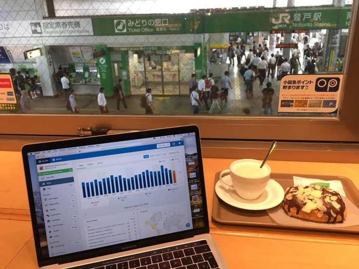tomando cafe en hokuo