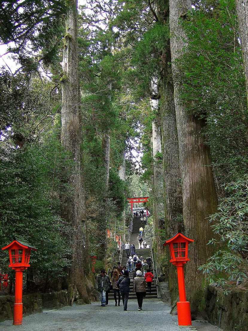 Motohakone calzada Hakone KyuuKaidou templo
