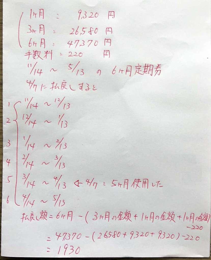 calculos devolucion cancelacion teiki abono mensuale japon
